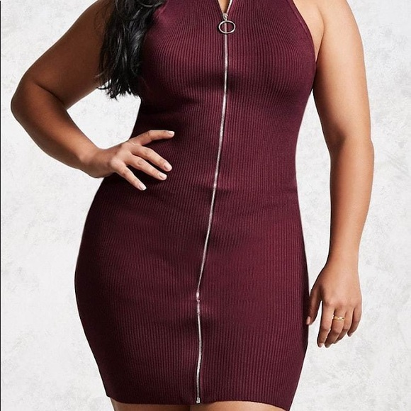 Plus size wine zipper front Ribbed dress 2x